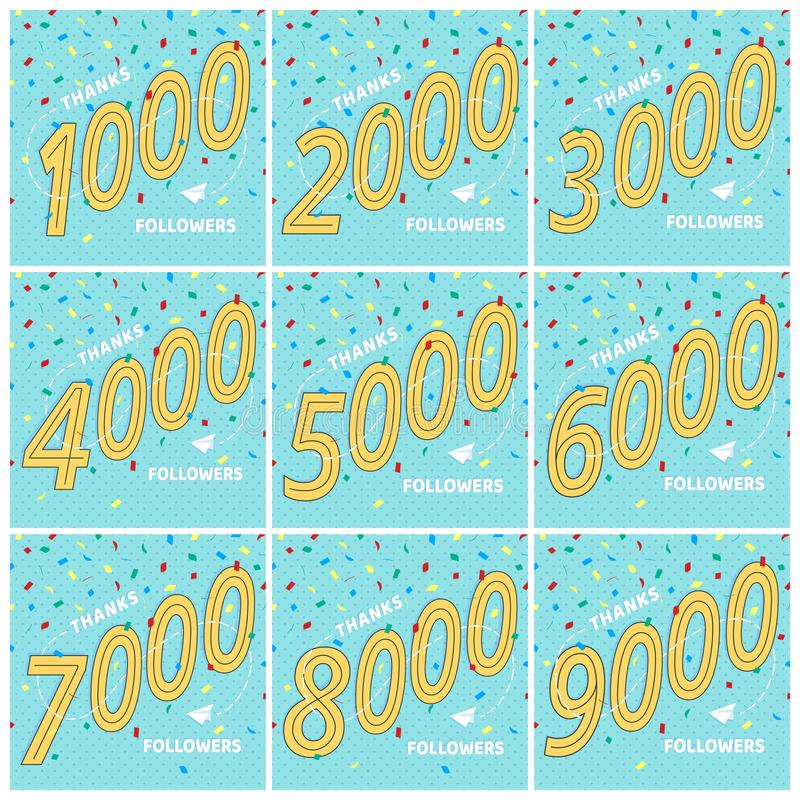 Thank you 1-9k followers numbers postcards set. vector illustration