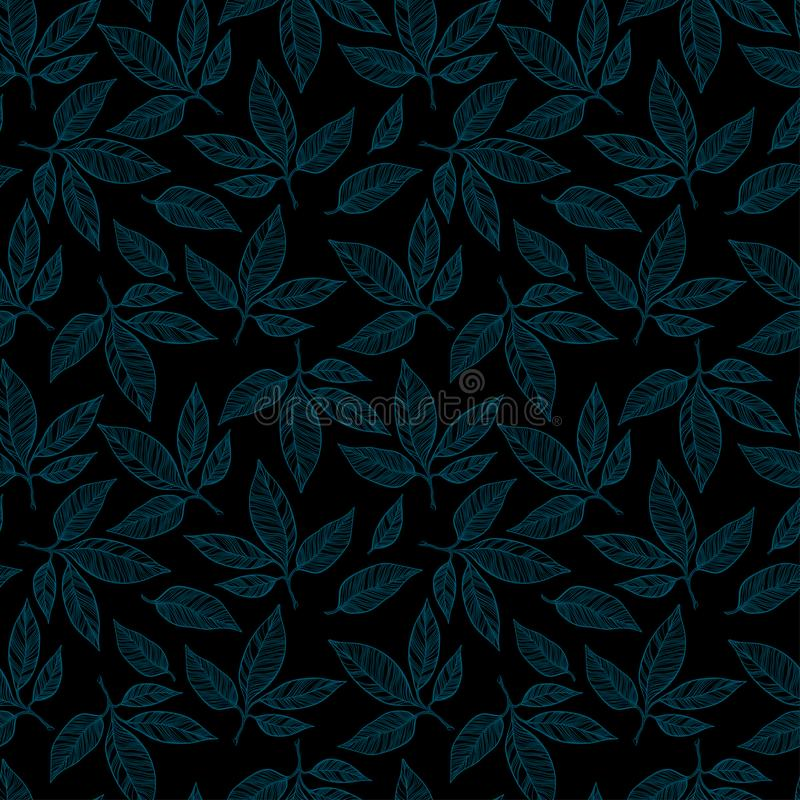 Pattern with falling leaves. Seamless vector pattern in pastel, a graphic pattern of thin lines, oriented for textiles and fabrics vector illustration