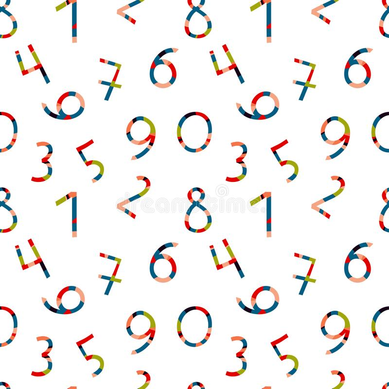 pattern with numbers, bright numbers with a striped pattern vector illustration