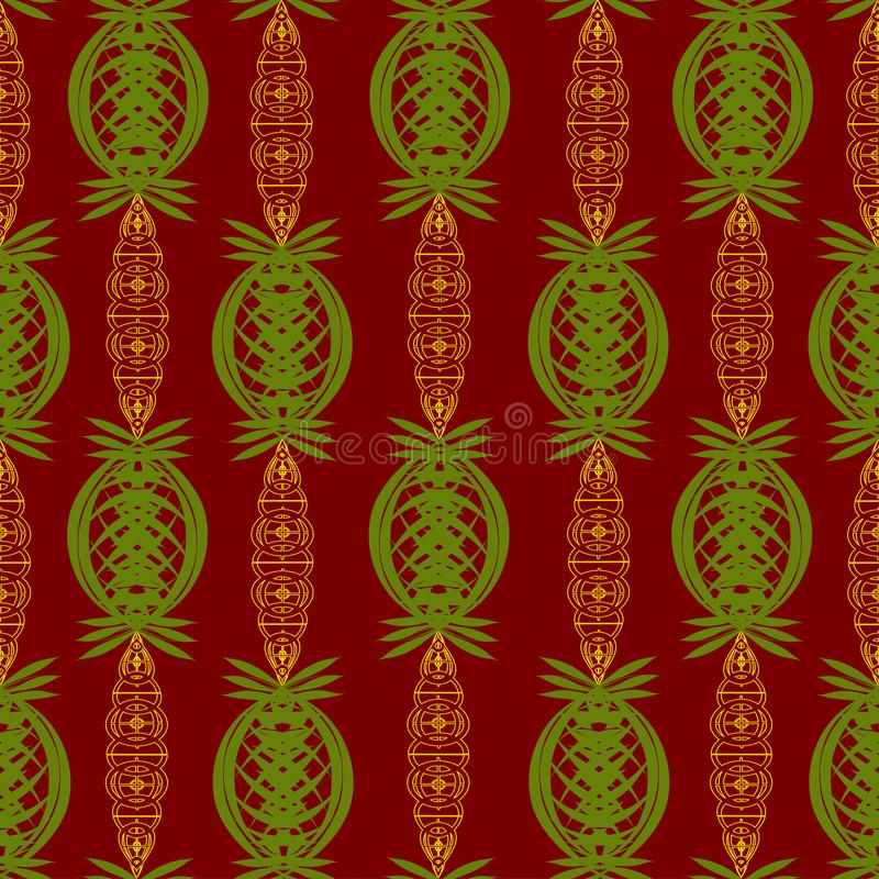 Abstract ornament of green and gold colors over a dark red color.  royalty free illustration
