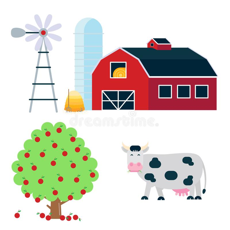 Landscape scene elements with black white spotted cow stand with grass mouth, red barn, silo, haystack and fruit tree set. Flat style vector illustration vector illustration