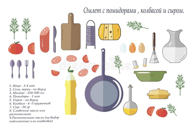 Isolated items and ingredients for making omelet. Vector image on a white background isolated items and ingredients for making omelet vector illustration