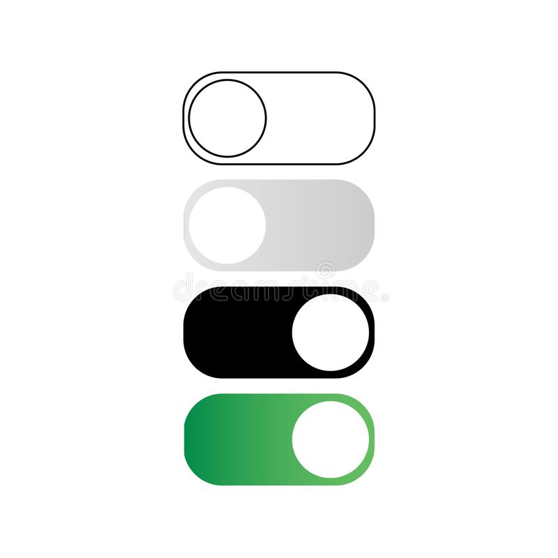 On and off toggle buttons. Isolated on the white background vector illustration