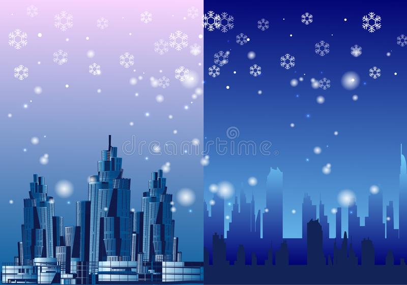 Winter city megalopolis snowy, vector illustration. 2020 royalty free stock image