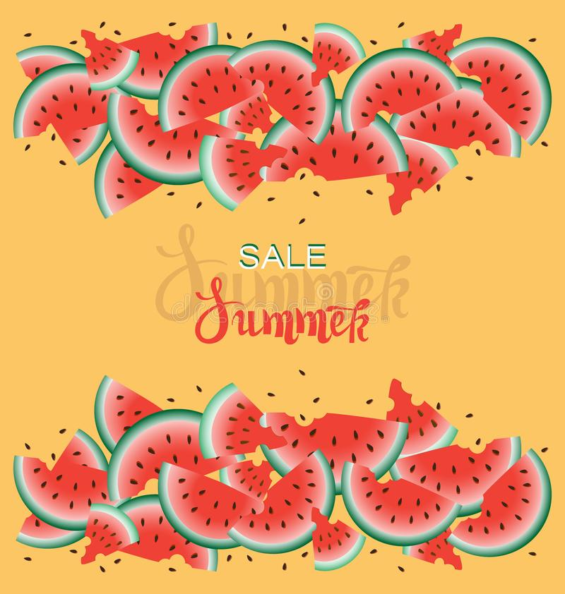 Summer Sale. Orange background with ripe juicy watermelons. royalty free illustration