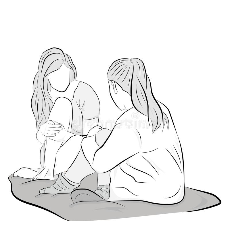 Friends sit talking. friends day. vector illustration. royalty free stock images