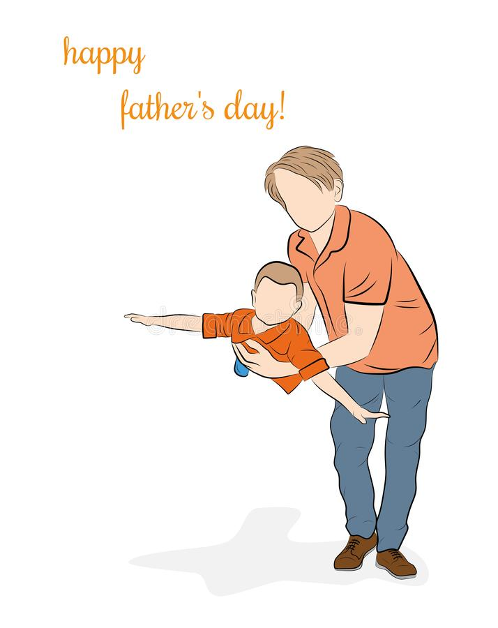 Father holds son. happy father`s day. vector illustration. stock photography