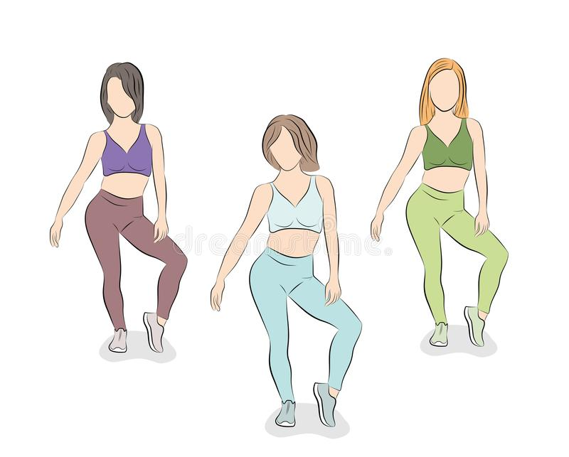 Girls are dancing. vector illustration. stock images