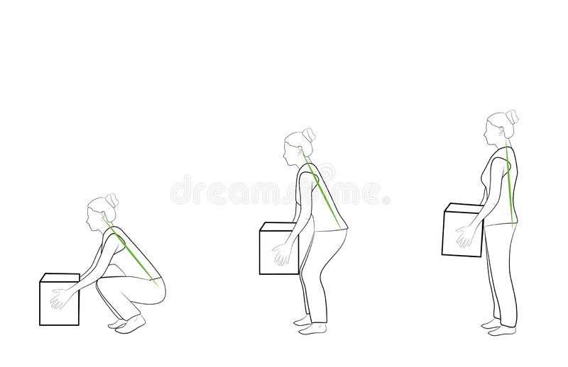 Correct posture to lift a heavy object safely. Illustration of health care. vector illustration stock photo