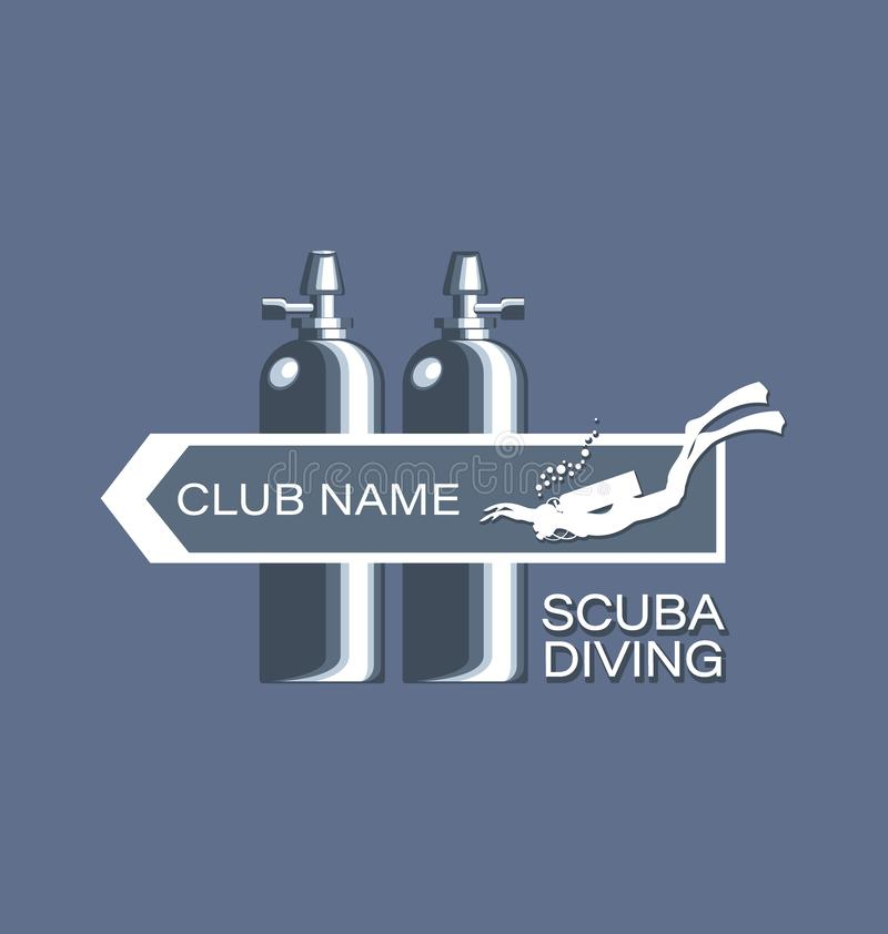 Skin-diver and diving cylinders. Scuba diving. Emblem, club logo on a gray background. The concept of sports diving, spear fishing. Design for thematic sites vector illustration