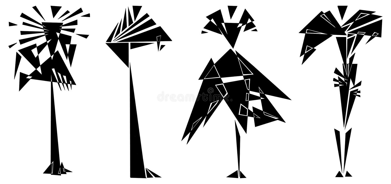 Silhouettes of fashion suits set in a geometric black and white style vector illustration