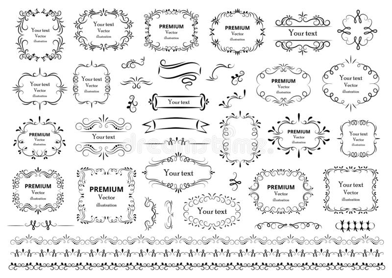 Calligraphic design elements . Decorative swirls or scrolls, vintage frames , flourishes, labels and dividers. Retro vector illust royalty free illustration