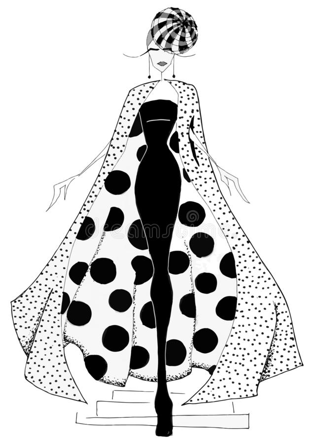 Art fashion silhouette of costume posing in the style of an abstract pattern with geometric elements in black and white graphics. Geometric fashion, fashion stock illustration