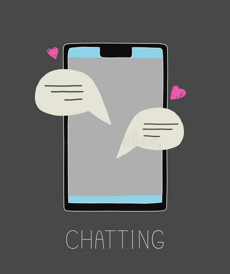 Vector illustration of chatting. Telephone screen. royalty free stock image