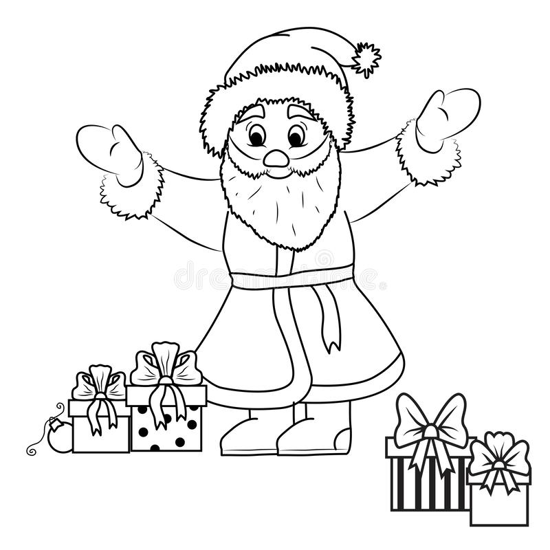Santa Claus and gifts black outline royalty free illustration