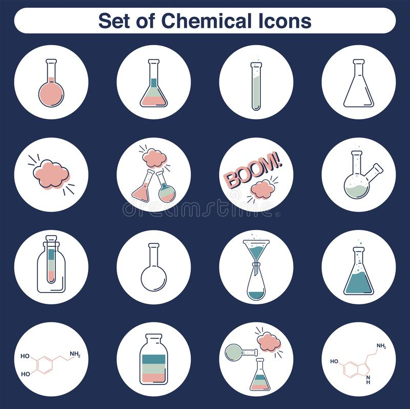 Vector chemical icons set of outline flat test tube and flasks for laboratory royalty free illustration