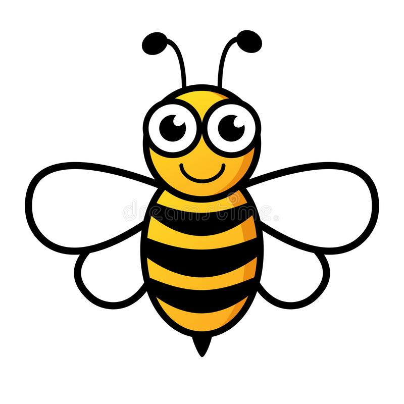 Lovely simple design of a yellow and black bee. On a white background royalty free illustration