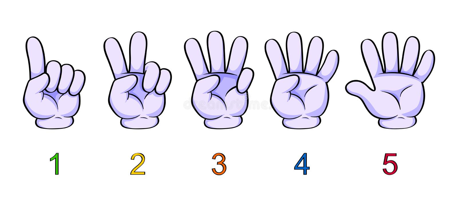 Illustration of counting hand for kids. Counting fingers from one to five. One, two, three, four, five stock illustration