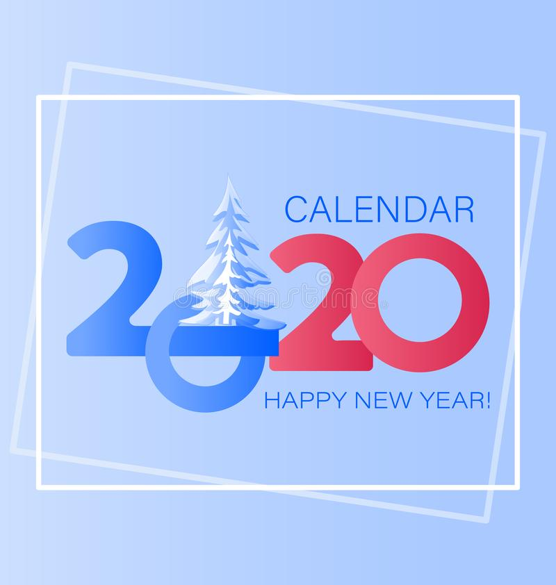 Happy New Year. 2020 year with the main large numbers and snow-covered spruce. royalty free illustration