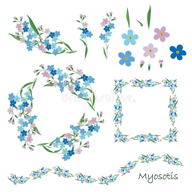Forgetting flowers isolated on white background. Blue pink green floral elements for your design stock vector illustration