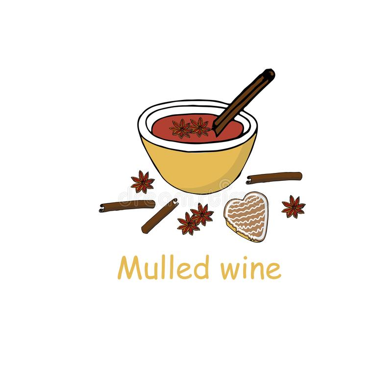Mulled wine banner festive elements for restaurant and cafe menu, for web. Winter drink, christmas cookies, spices. Cinnamon, cardamom art object isolated vector illustration