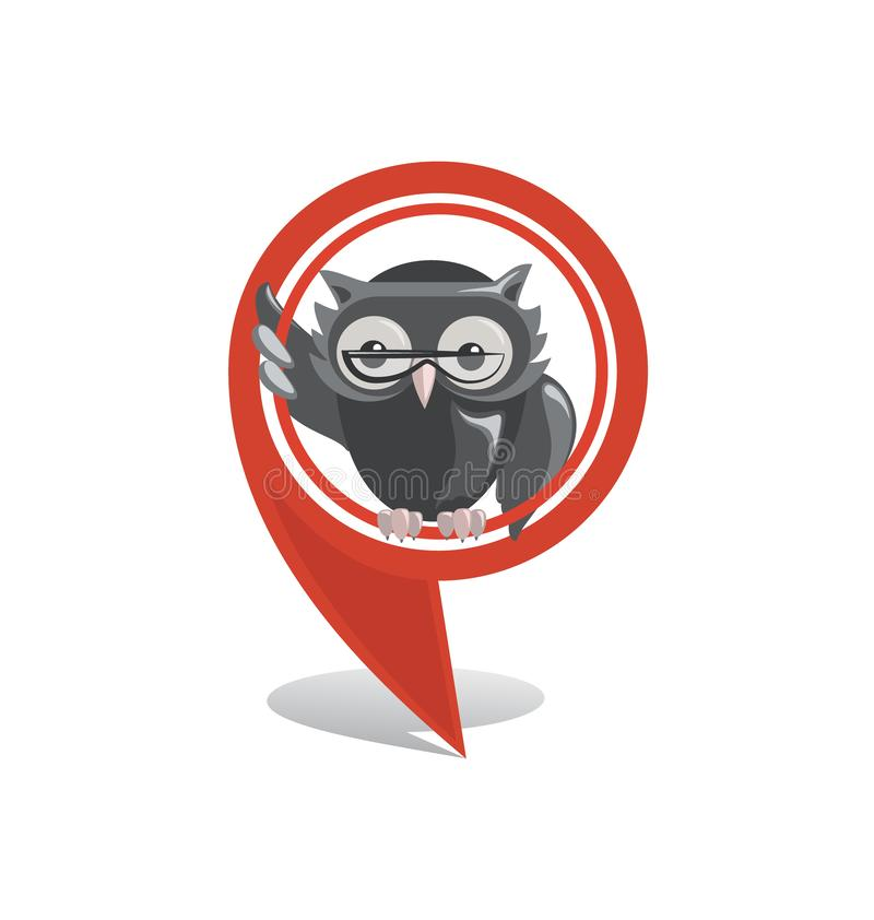 Red location marker and owl. Location sign, marker icon, GPS. Vector pointer on the map of the school, college, university, library stock illustration