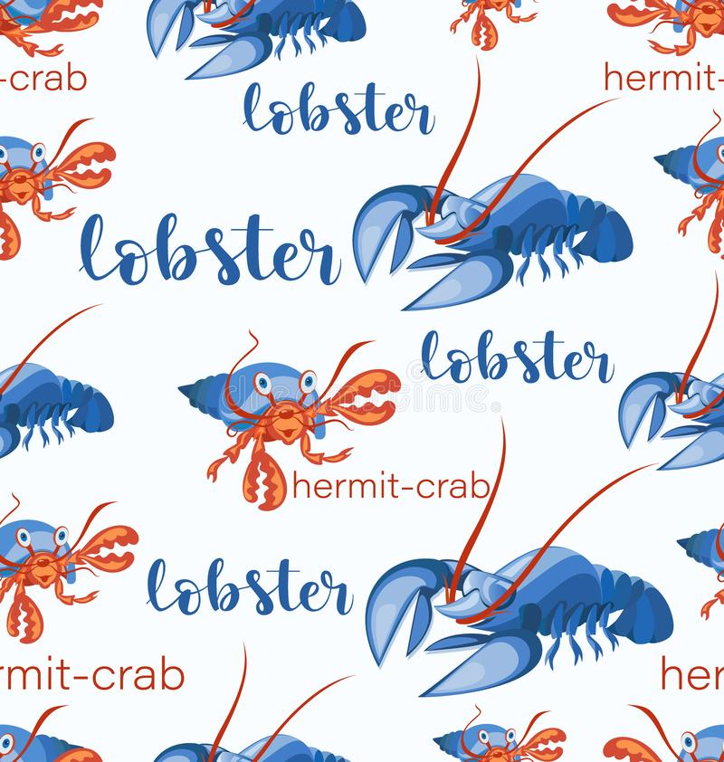 Lobsters and hermit crabs. Seamless pattern. vector illustration