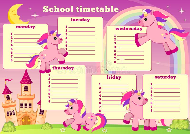 School timetable with fairytale unicorn, rainbow and castle. Back to school royalty free illustration