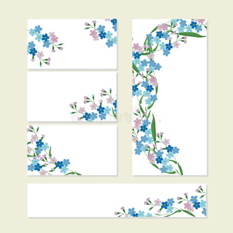 Floral summer templates with cute bunches of blue forget-me-nots on white. For romantic design, announcements. Greeting cards, posters, advertisement stock royalty free illustration