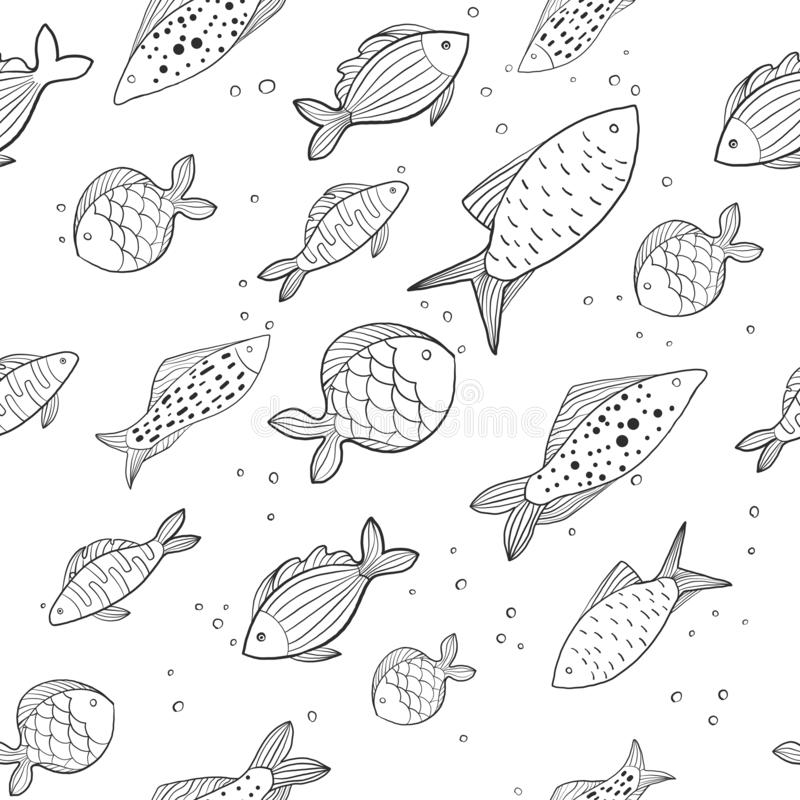 Seamless pattern with funny fish. small and big fish on white background. the illustration. Can be used as a print for fabric stock images