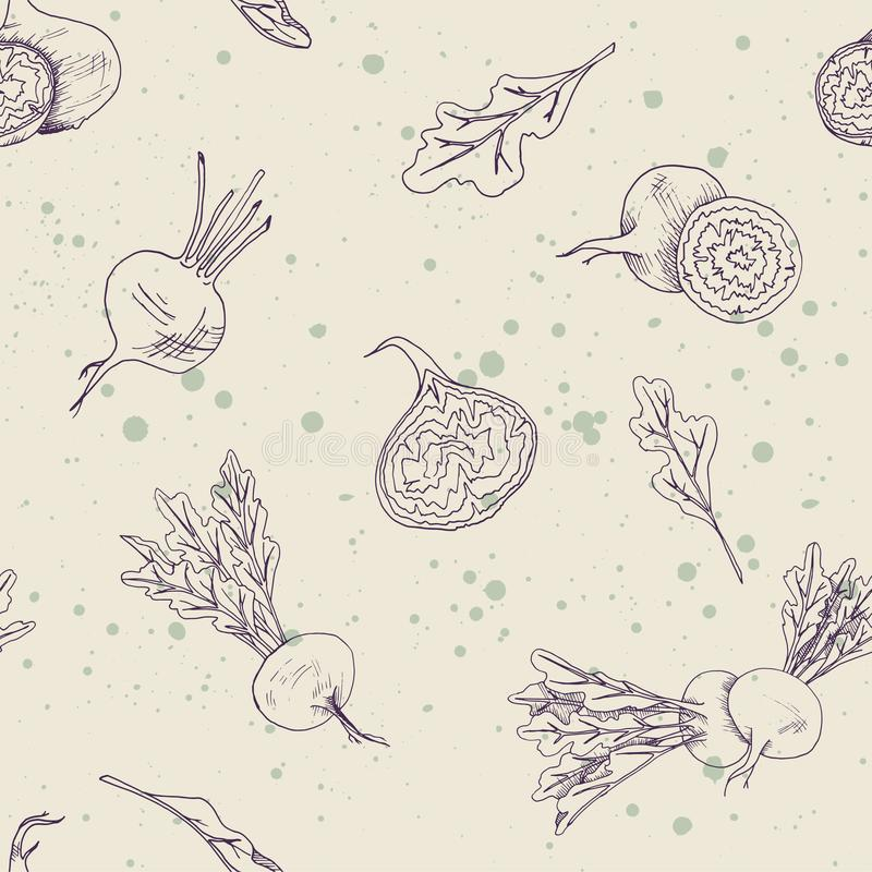 Seamless food pattern with beetroot vegetables on a ivory background with splashes stock illustration