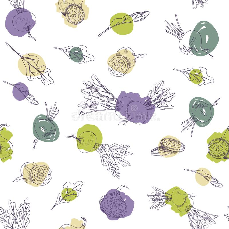 Vector seamless pattern with beet root food and vegetables on a white background with colorful brush strokes stock illustration