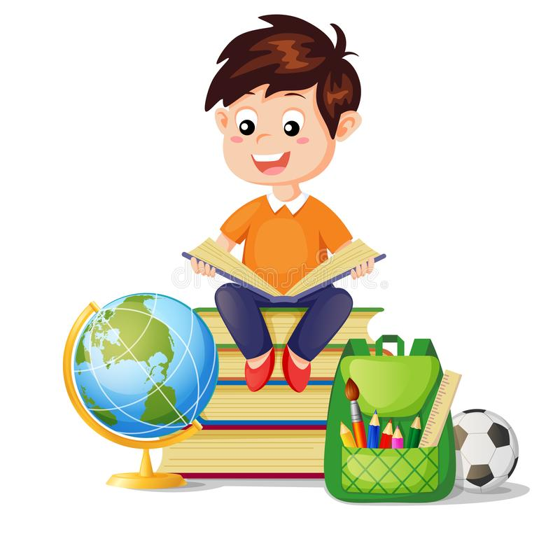 Boy sitting on pile books and reading book. I love read. Back to school. School education and knowledge stock illustration