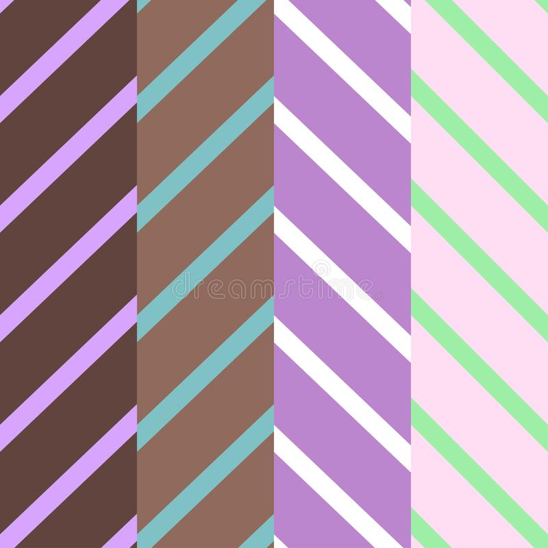Set of four patterns with diagonal lines of violet and brown colors. Vector seamless pattern vector illustration