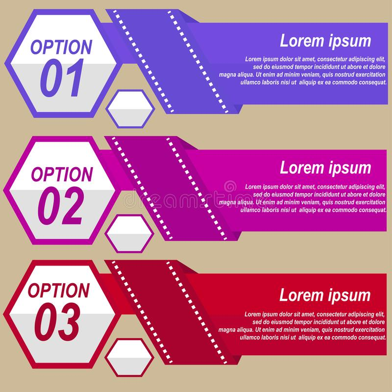 Infographic with three options of violet and red colors. Abstract infographic vector illustration