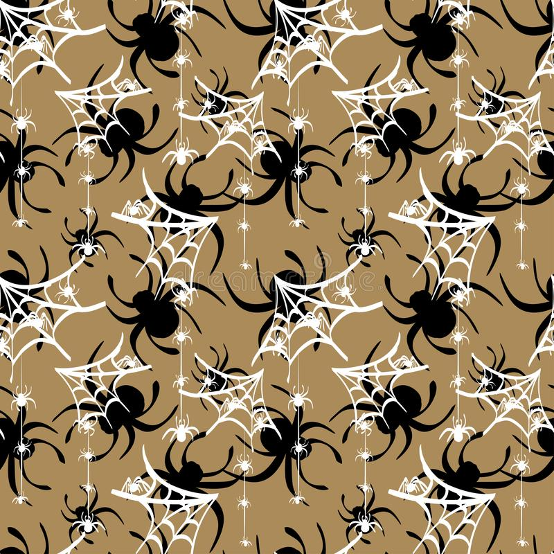 Black and white spider webs drawn on a light brown background. Seamless pattern vector vector illustration
