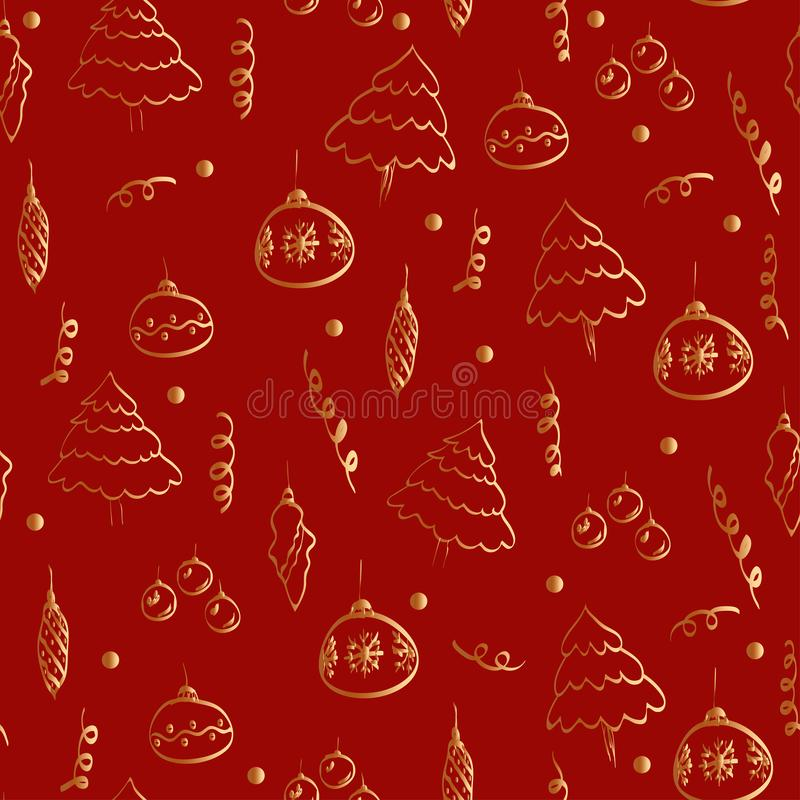 Golden gradient color christmas drawings on a red background stock illustration