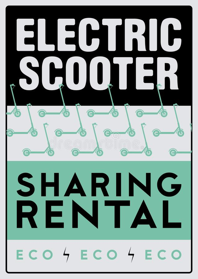 Electric scooter rental and sharing service typographical style poster. Vector illustration. Electric scooter rental and sharing service typographical pattern stock illustration