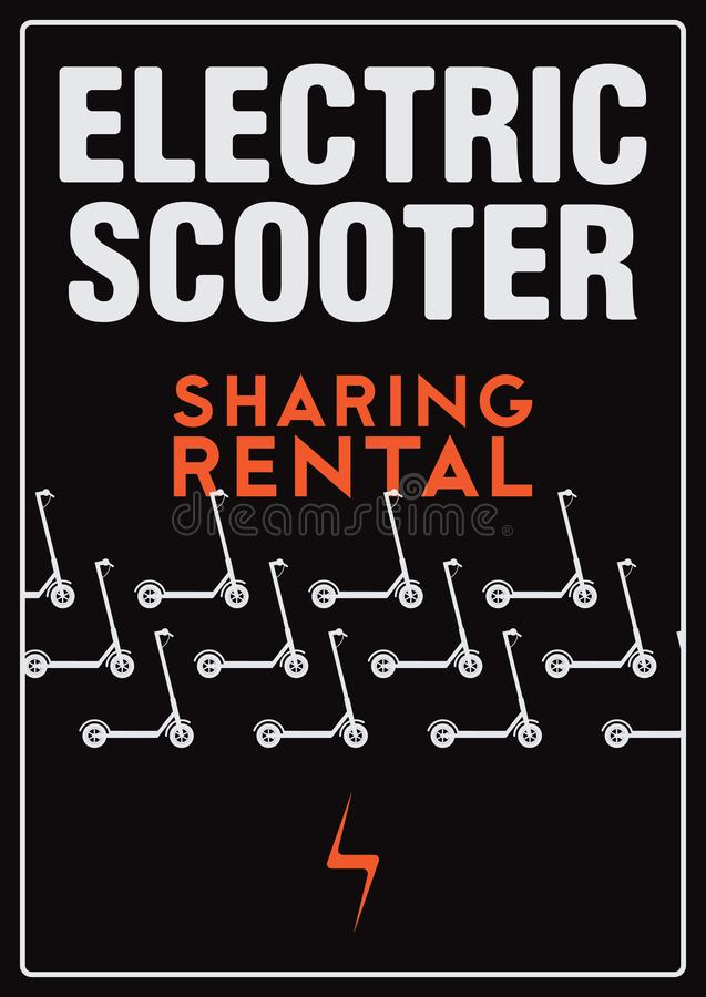 Electric scooter rental and sharing service typographical style poster. Vector illustration. Electric scooter rental and sharing service typographical pattern vector illustration