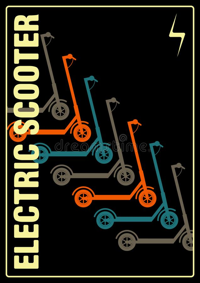 Electric scooter rental and sharing service typographical style poster. Vector illustration. Electric scooter rental and sharing service typographical pattern royalty free illustration