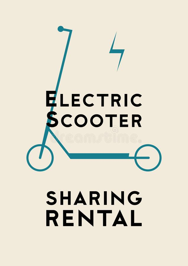 Electric scooter rental and sharing service typographical style poster, emblem, label or badge design. Vector illustration. Electric scooter rental and sharing stock illustration