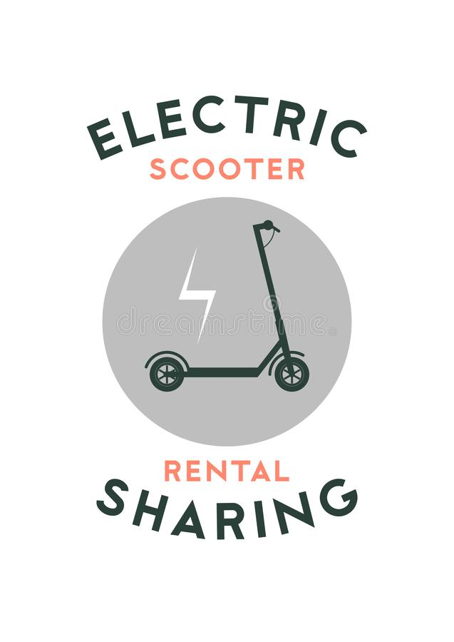 Electric scooter rental and sharing service typographical style poster, emblem, label or badge design. Vector illustration. Electric scooter rental and sharing royalty free illustration