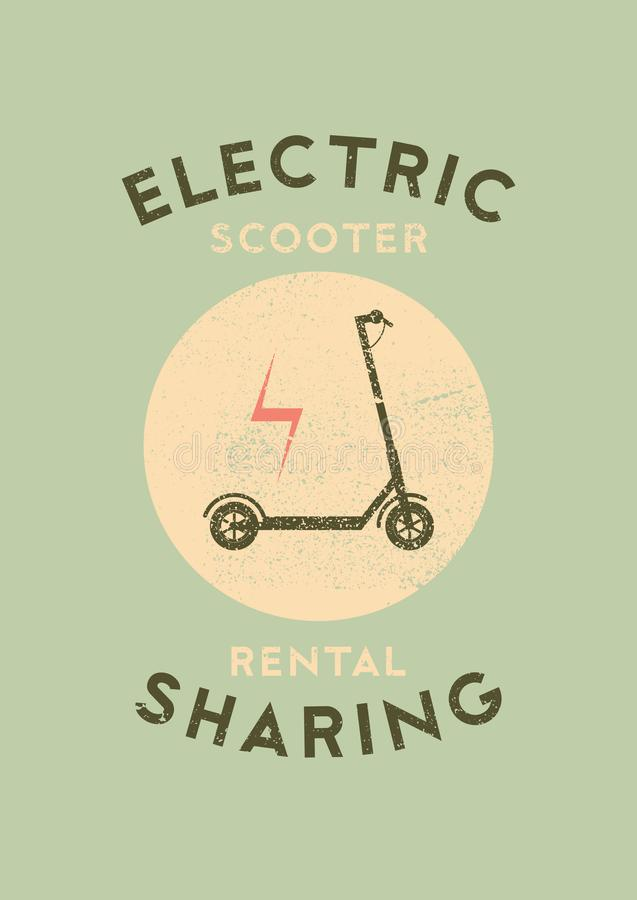 Electric scooter rental and sharing service typographical grunge style poster. Retro vector illustration. Electric scooter rental and sharing service vector illustration