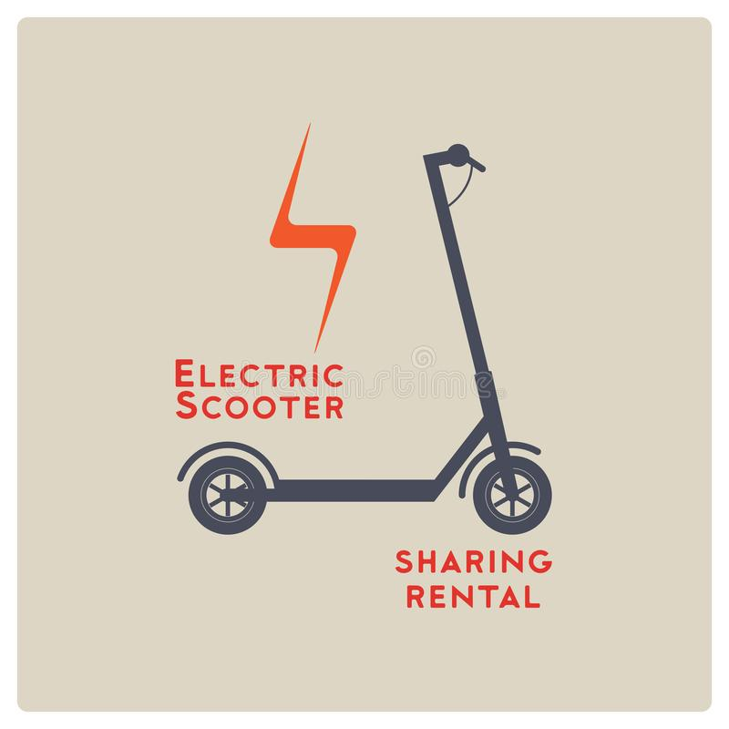Electric scooter rental and sharing service typographical style poster, emblem, label or badge design. Vector illustration. Electric scooter rental and sharing vector illustration