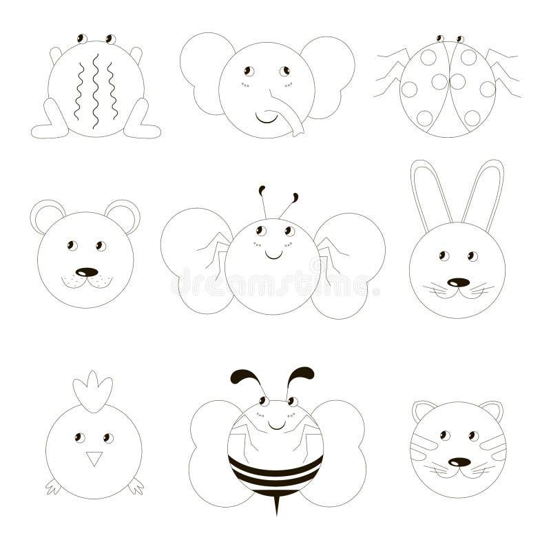Animal icon set. Cartoons line design monochrome frog elephant ladybug bear butterfly rabbit chicken bee cat vector illustration