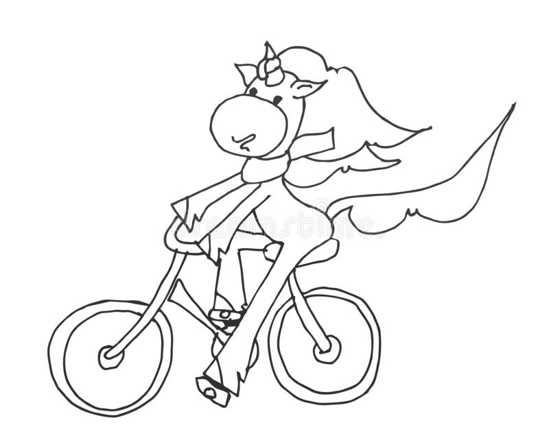 Coloring book for kids - unicorn smiling and riding a bicycle in a beautiful scarf. Black and white cute cartoon unicorns. Vector stock illustration