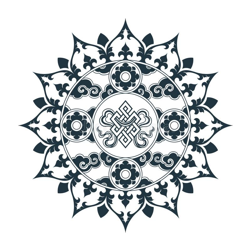 Tibetan pattern mandala design. D. Hand drawn decorative element. Template for yoga classes banners, web site and cards design royalty free illustration