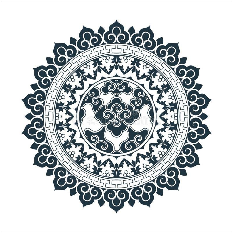 Tibetan pattern mandala design. D. Hand drawn decorative element. Template for yoga classes banners, web site and cards design stock illustration