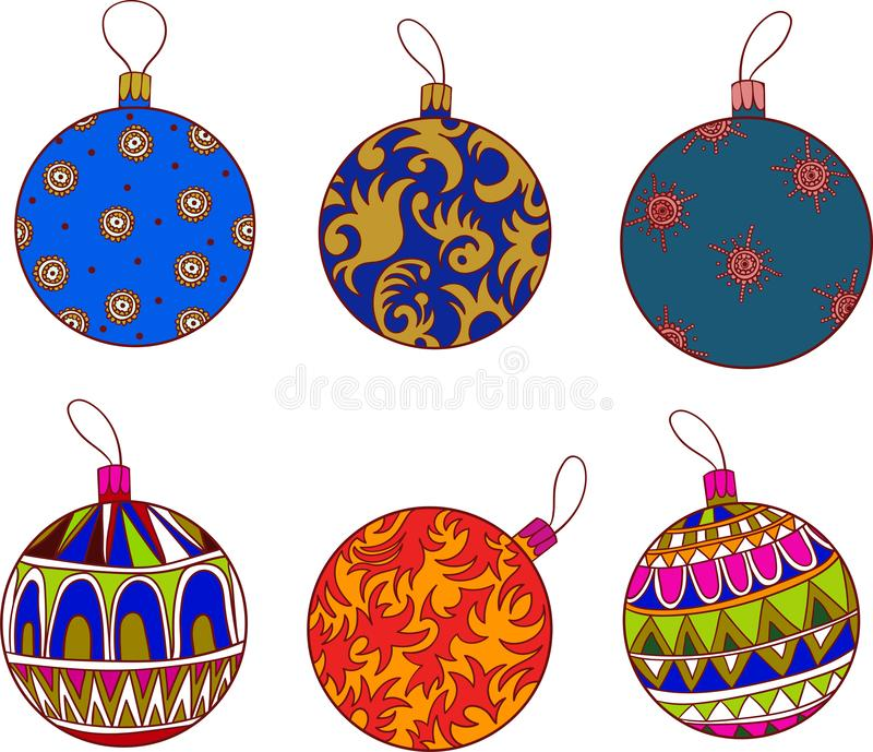 Set of Christmas icons with festive painted toys vector illustration