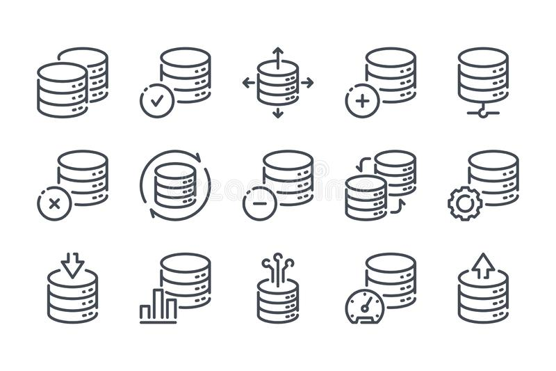 Database and web storage line icons. stock illustration